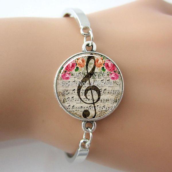 G-Clef Armband, Music Note Armreif, Glas Cabochon Dome Charme, Kunst Musical Hinweis Bild Silber Brcelet für Frauen Geschenke GL018