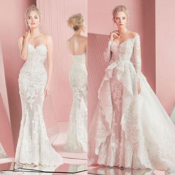 2017 Zuhair Murad New Full Lace Overskirts Abiti da sposa maniche lunghe Sweetheart Neckline Applique Abiti da sposa con treno staccabile