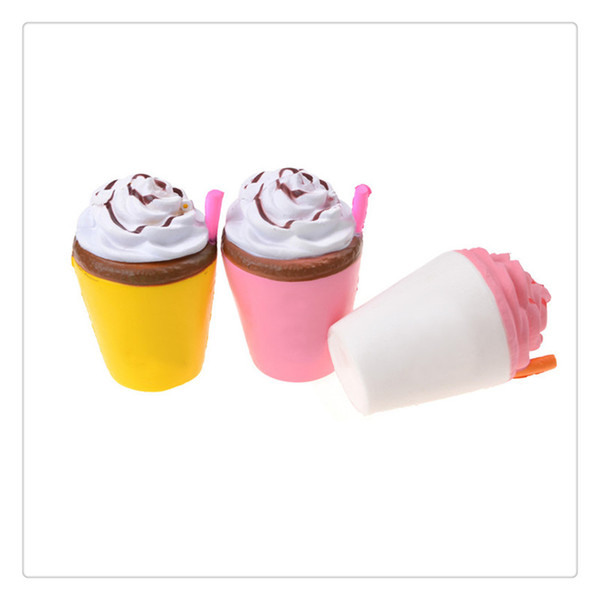 New Ice Cream Squishies Coffee Cup Squishy Toys Slow Rising Cute Kid Toy Scented Soft Squeeze Gift Phone Straps Free Shipping