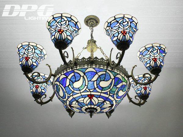 stained glass pendant lamps tiffany chandelier with 8 heads blue