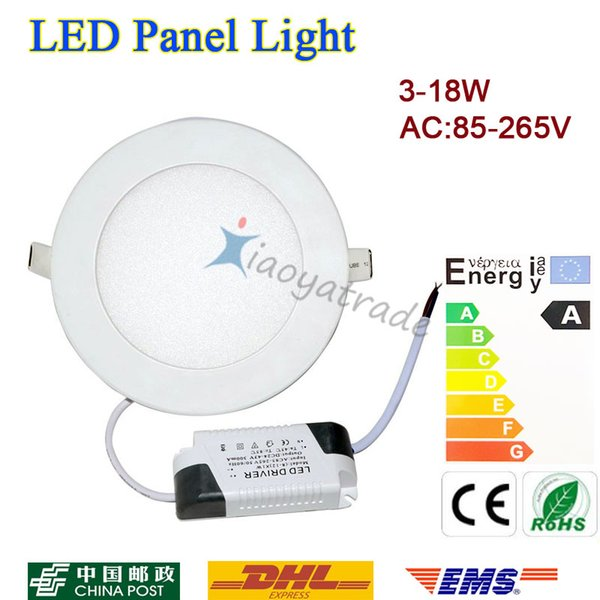 best selling 20pcs Ultra Bright 3W 4W 6W 9W 12W 15W 18W Led Ceiling Recessed Downlight Round Panel light 1800Lm Led Panel Bulb Lamp Light