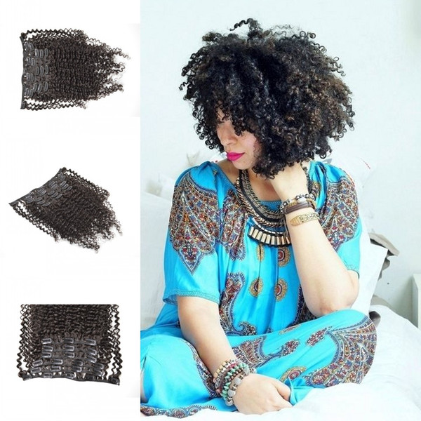 Beautiful afro kinky curly virgin Cambodian hair clips Ins 7pcs/set black clip in hair extensions real human hair 120g/set G-EASY