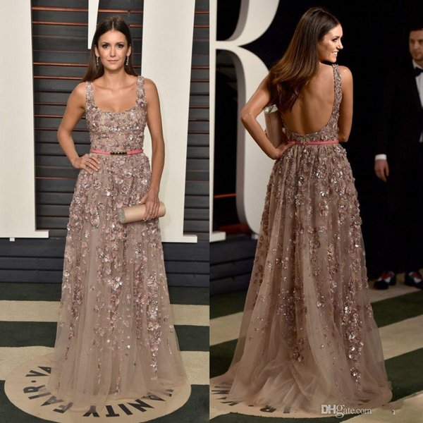 2016 Summer Scoop Sexy Backless Evening Dresses A line Floor Length Applqieus Beaded Formal Prom Gowns Champagne Party Gowns
