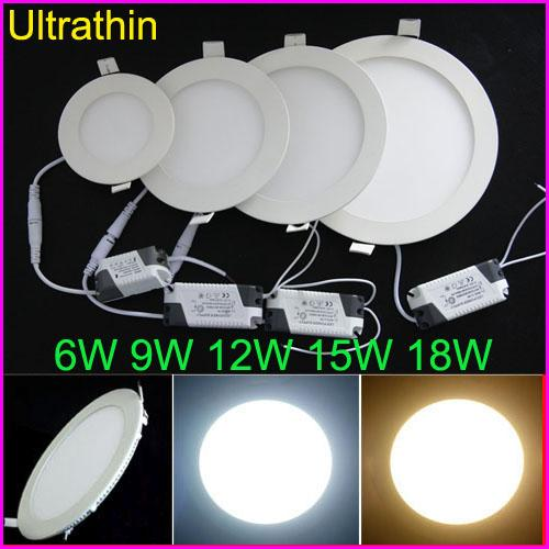 best selling Free DHL 6W 9W 12W 15W 18W Ultrathin LED Ceiling Lights Recessed Downlights 85-265V Led Panel Lighting With Power Driver Spotlight Bulb Lamp