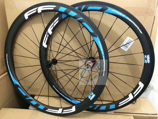 2019 sticker ffwd f4r white blue full carbon fiber 38mm road carbon bike wheelset 3k clincher 11 speed bicycle wheels free shipping