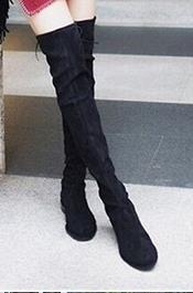 Mulheres Coxa Alta Moda Botas Sobre O Joelho Botas Planas Preto Elástico Tecido Todos Os Tamanhos Femininos Plana Longa Sapatos