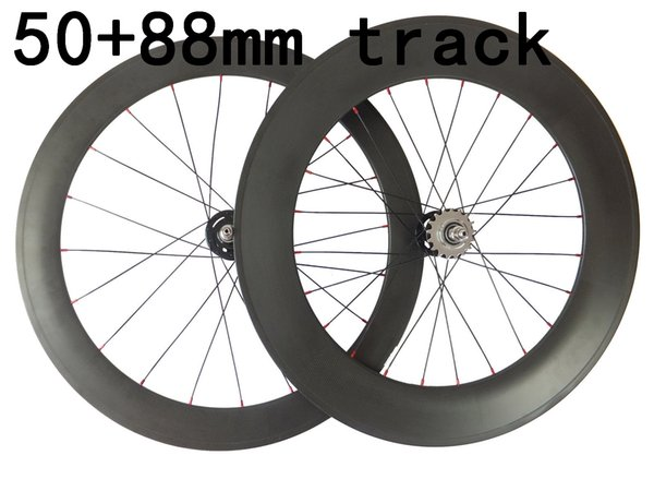 HOT Fixed Gear carbon Road Bike wheels front 50mm rear 88mm carbon bicycles wheelset 20.5mm rims 3K weave glossy matte finish