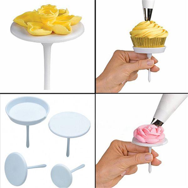 Gros-4 PCS DIY Sugarcraft Fleur Crème Glace Stand Nail Bake Cake Cupcake Outil De Décoration