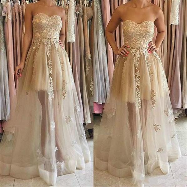 Pretty Applique 2018 vestidos largos de dama de honor cariño escote palabra de longitud vestidos de fiesta sin mangas una línea formal vestido de fiesta