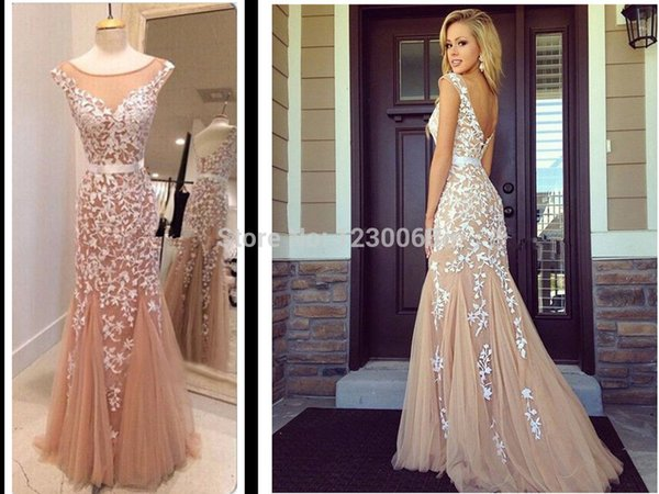 Champagne Real Sample Picture Lace Appliques Evening Dresses prom Gown robe de soiree 2018 New Mermaid Party Dress free shipping