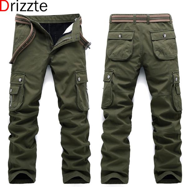 4dc663cea64d7d Drizzte Winter Warm Fleece Männer Dicke Cargo Pants Multi Taschen Arbeit  Hosen Lässige Herren Jeans Hose