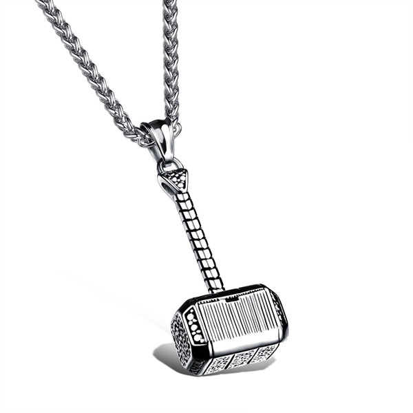 Punk Thor Quake Necklace Original Film Pendants Stainless steel Thor Hammer Pendants Necklace for Male Best Gift GX1000