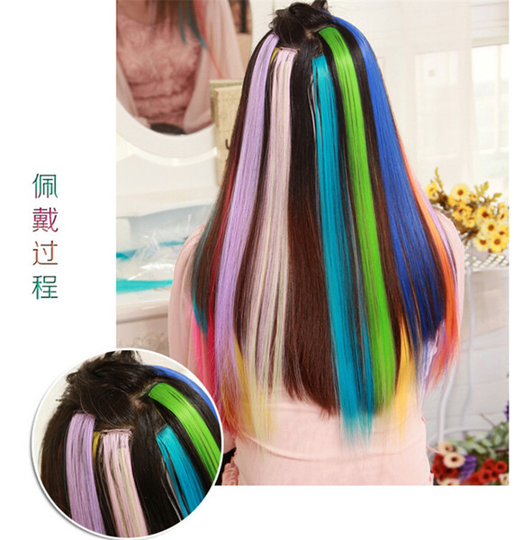 "top popular Best Sales Colorful Popular Colored Hair Products Clip On In Hair Extensions 24"" (FX18) Free Shipping 2019"