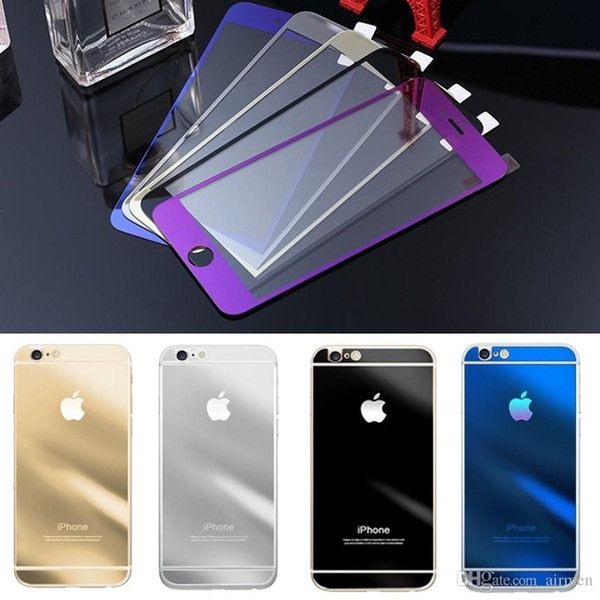 New Arrival For iPhone6 glass film Color Mirror plating tempered glass Screen Protector for iPhone 6 6plus 4.7 5.5inch front and back