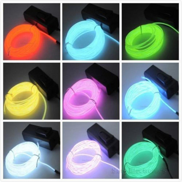 best selling Flexible EL Wire Neon Light 8Colors 3M EL Wire Rope Tube with Controller Halloween Christmas Decoration for Dance Party Car Decor+Controller