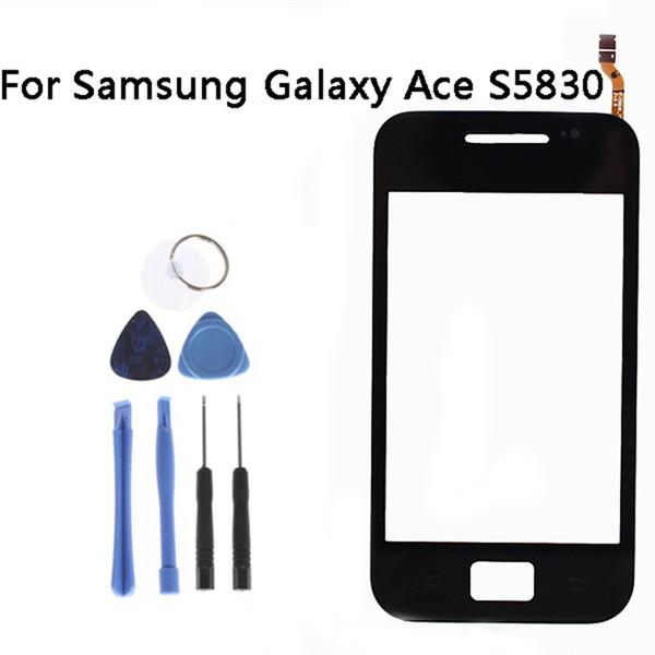 Atacado-preto sensor de tela de toque para samsung galaxy ace s5830 digitador de vidro da janela touchscreen peças de reposição + ferramentas np242