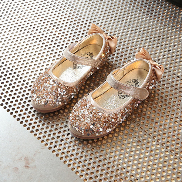 Flower Children Girls Kids Baby Gold Pink Rhinestones leather Princess Dance Shoes Wedding Party Christmas Dress Shoes For Girls New 2017