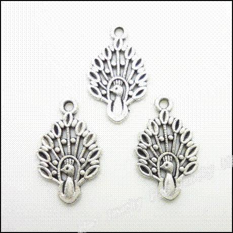 100 pcs encantos do vintage pingente de pavão antigo de prata fit pulseiras colar diy jóias de metal fazendo