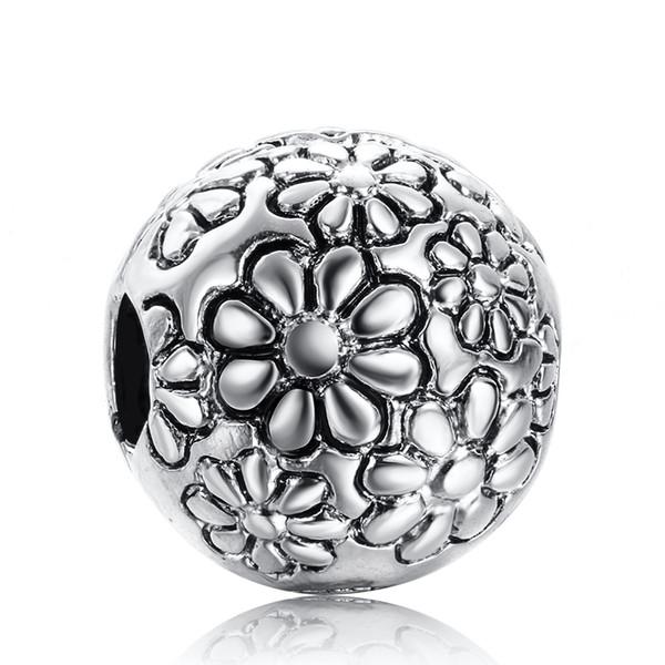 original Sterling Silber Emaille Blumen cz echte Charms im European Bead Stil