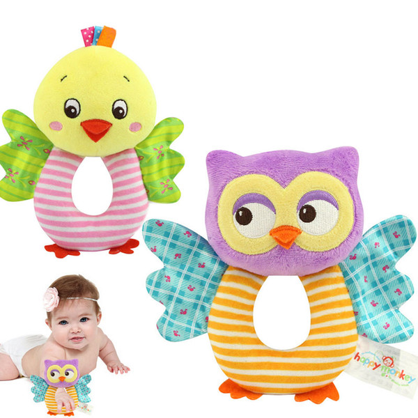 Fashion Newborn Infant Rattles Toy Handbell Cartoon Animal Owl/Chicks Boy Girl Hand Bell Toddler Baby Plush Toys Gifts