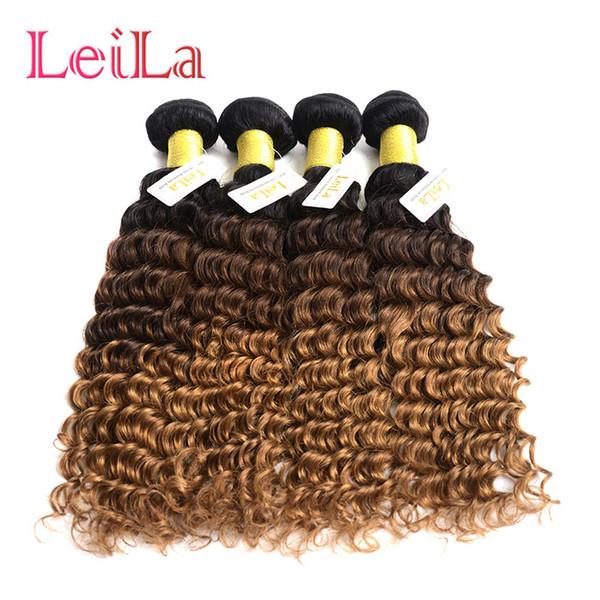 Brasilianisches Menschenhaar 4 Bundles Deep Wave Curly 1B / 4/27 Ombre Virgin Hair Bundles von Leilabeauthair Deep Wave 1B / 4/27 Bundels