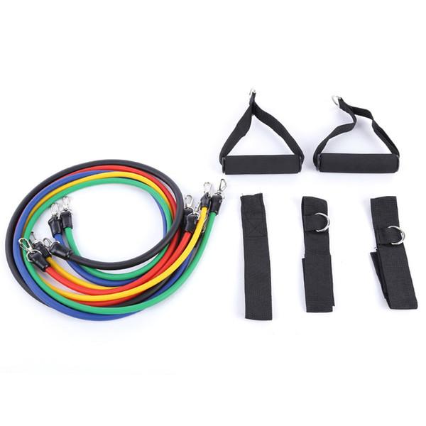 11 unids / set tubo de látex de Pilates expansores tubos de ejercicio resistencia práctica fuerza conjuntos de banda Crossfit gimnasio venta