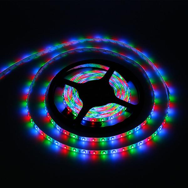 Großhandel-DC12V IP65 5M 3528SMD 300 LED-Streifen Licht Farbwechsel RGB Warm Cool White Rope Luminaria Diodenband + DC-Anschluss + 44-Tasten-Fernbedienung