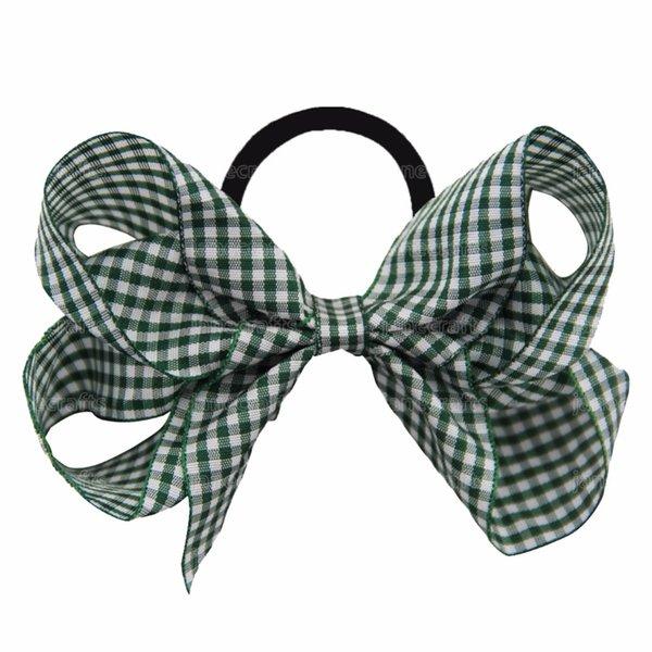 12 Pcs /Lot 5 Inch Grosgrain Ribbon Elastic Hair Bands Plaid Hair Bow Headbands Girls Women Headwear Hair Accessories