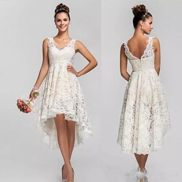 Discount Lace Country Wedding Dresses High Low Short Empire Maid Of Honor  Wedding Party Dress V Neck Bohemian Beach Wedding Dresses Plus Size Wedding  ...