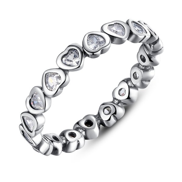 Forever Love, Heart Sliver Rings with Clear Cubic Zirconia Elegant Engagement Wedding Rings for Women R029
