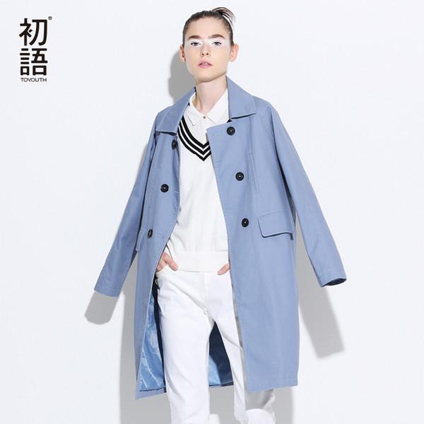 Venda por atacado- Trench Coat Toyouth 2017 Primavera Mulheres Turn Down Collar Coats Solto reto Double-Breasted Overcoats