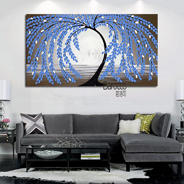 2019 Blue Leaves Tree Hand Painted Oil Painting On Canvas Modern Wall Art  Home Decoration Bedroom Kitchen From Chinaart2013, $45.23 | DHgate.Com