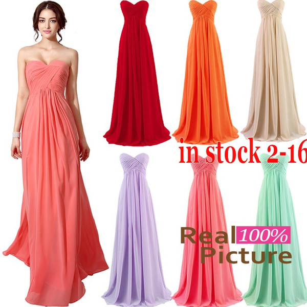 IN STOCK 2015 Cheap Coral Bridesmaid Dress A-Line Sweetheart Maid of honor Dresses Champagne Lilac Red Mint Orange Long Formal Evening Gowns