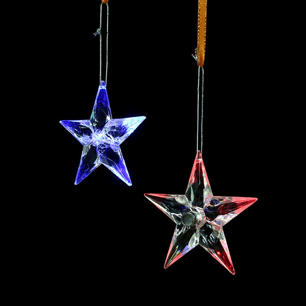 2018 New creative plastic transparent snowflake ornaments Christmas decorations pendant led light decorations wholesale free shipping