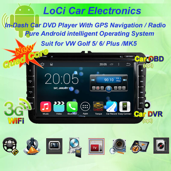 DVD multimedia para coche Reproductor de android de radio para VW volkswagen Golf 5,6, Plus, MK5, autoradio CD, navegación gps, Android puro 4.4.4, Quad Core