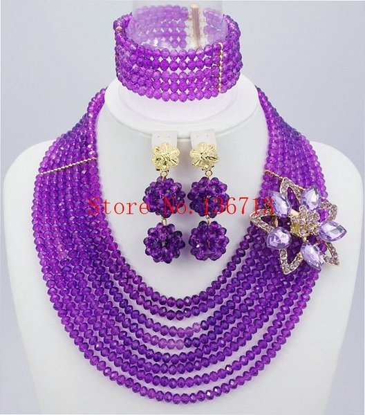 2016 Fashionable Nigerian Wedding African Beads Jewelry Sets Costume Indian Bridal Necklace Jewelry Set Free Shipping SD801-2