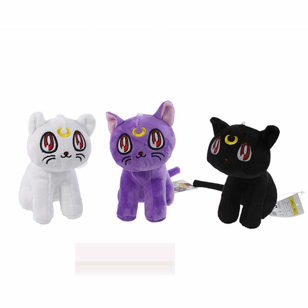 best selling 2015 Anime Toy Free Shipping 18cm Pretty Guardian Sailor Moon plush toys dolls Luna Artie Smith Diana