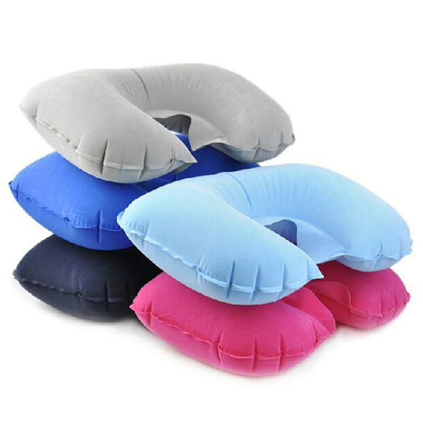 Wholesale- Inflatable U Shaped Pillow Car Head Neck Rest Air Cushion for Travel even in office Convenient AA