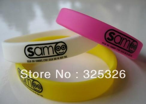 Silicon wristband silicon bracelet custom printed logo promotion gift silicone bracelet retail wholesale 100pcs/lot