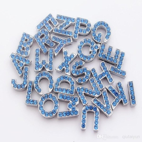 2015 HOT Sale 10mm Crystal Block Slide Letter A-Z Personalized DIY Name Slide Letters for Dog Pet Collar Pet Product blue pink 524