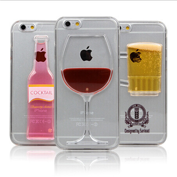 For iPhone 7 plus 6plus 3D Red Wine Cup Liquid Clear TPU Case Cover Phone Cases Flowing Wine Back Covers DHL Free SCA054