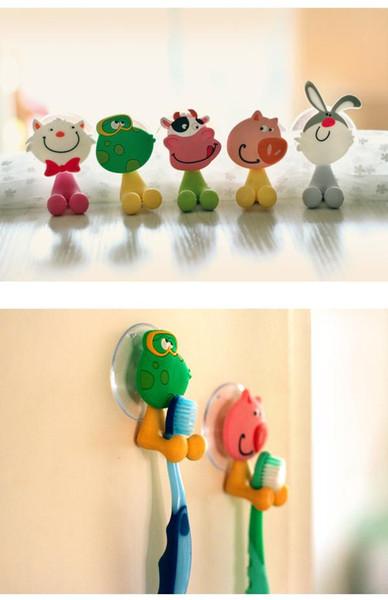 Free shipping cute Cartoon sucker toothbrush holder suction hooks bathroom set accessories Eco-Friendly TY70