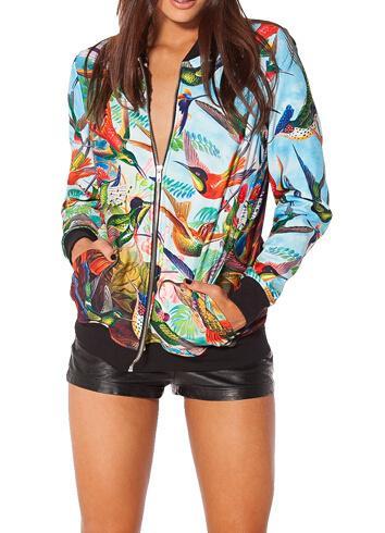 Venta al por mayor-moda 2015 J006 Birds In Paradise mujeres marca prendas de vestir exteriores colorida impresión 3D chaqueta de mezclilla casacos femininos envío gratis