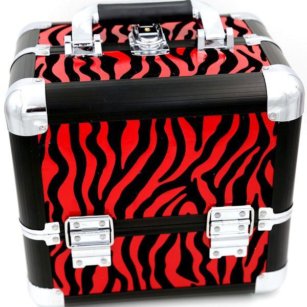 Cosmetic Case Makeup Train Caso Recipientes Para Cosméticos Organizador 1 pçs / lote Sacos Mulheres Tote Bag Make Up Organizador Multifuncional zebra Vermelha