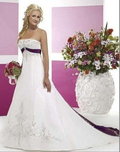 Venta caliente nuevo elegante blanco y púrpura Emboridery vestidos de novia sin mangas satinado tribunal tren sin tirantes vestidos de novia