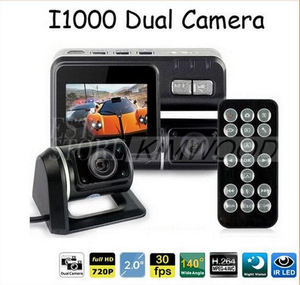 Full HD 1080P Dual Lens Car DVR Dual Camera Car Video Recorder Blackbox Dash Cam Visión Nocturna 140View Dual Lens Camcorder i1000