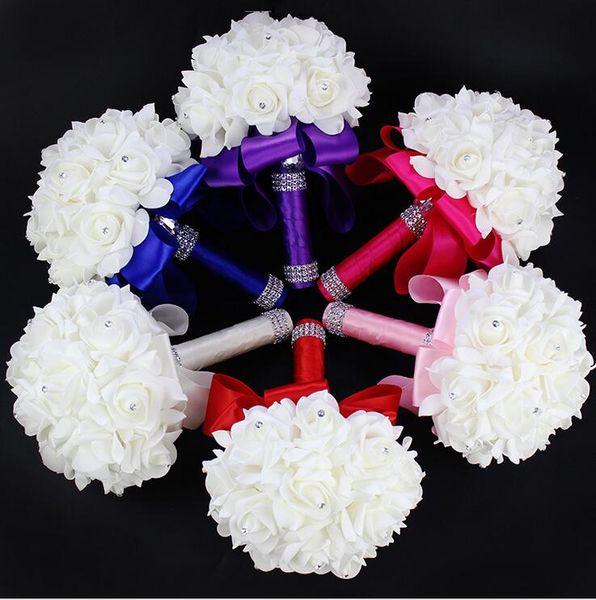 2018 elegante rosa flores nupciales artificiales ramo de novia ramo de boda de cristal azul real cinta de seda nuevo Buque De Noiva 10 colores