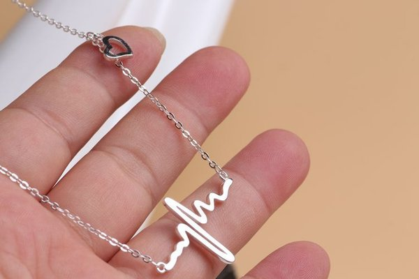 Мода кулон ожерелья цепи ювелирные изделия 18K позолоченные случайные металла сердце биться кулон цепь колье воротник нагрудник электрокардиограмма ювелирные изделия