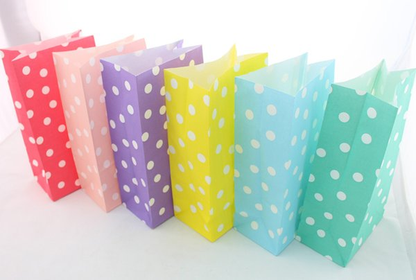 100pcs(4packs) polka dot wedding paper candy Bags Biscuit Cake Cookie Paper Treat Bags Wedding Candy favor boxes gift boxes/Gift Bags