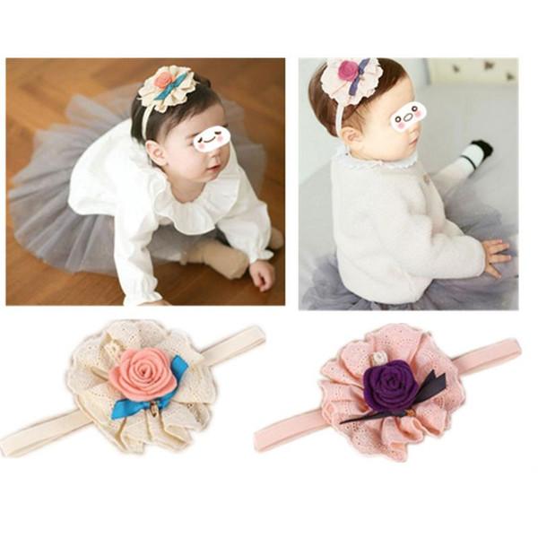 2016 Lindo 3 unid Niños Bebé de Algodón de Encaje + Flor Hairband Diadema Estiramiento Accesorios para el Cabello